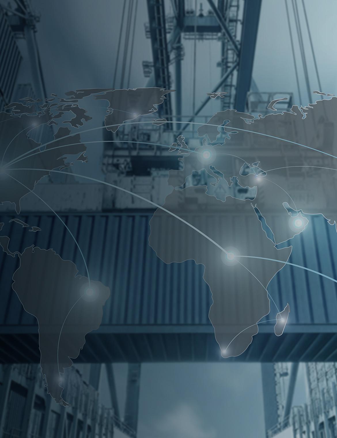 Vernetzte Kontinente als Symbol für Supply Chain Management und Logistik.